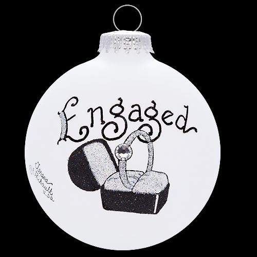 Engagement Ring in a Box Glass Christmas Ornament Made in the USA