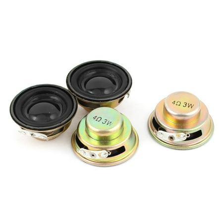 4 Pcs Multimedia 3W 3 Watt 4 Ohm 40mm Dia Aluminum Internal Magnet (Speaker Magnet Size)