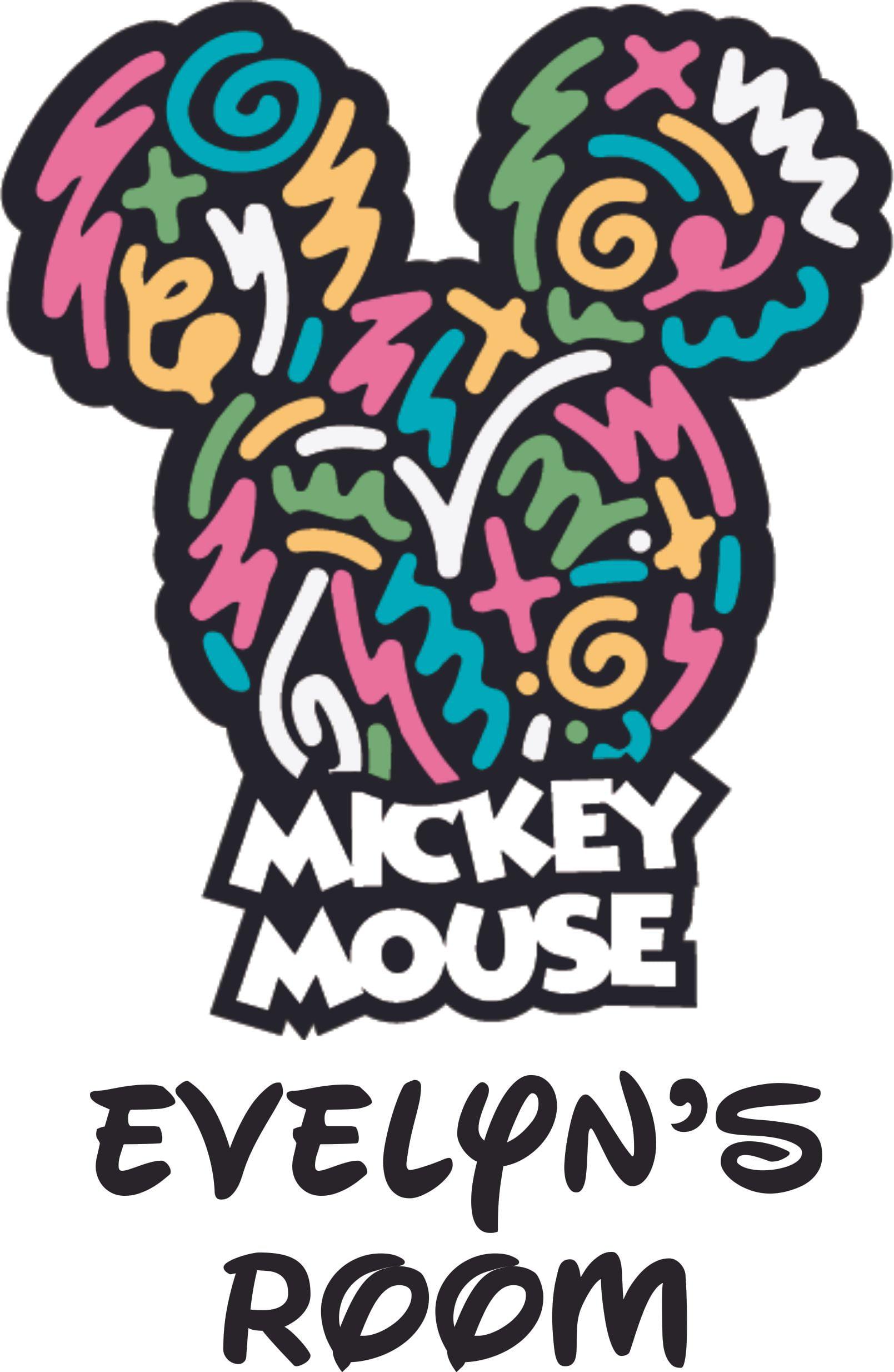 10x10 Girls Bedroom: Mickey Mouse Head Disney Character Wall Vinyl Customized