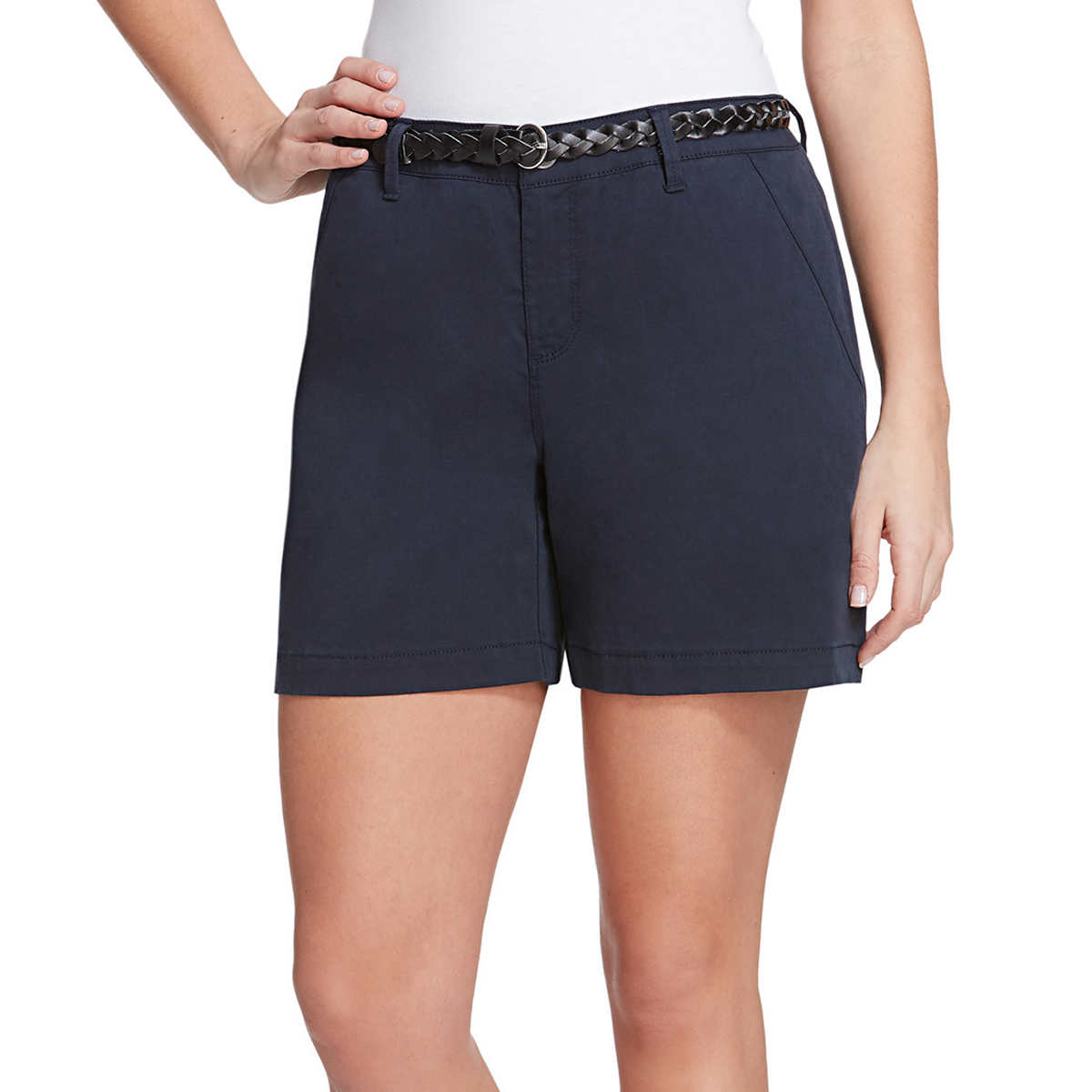 "GLORIA VANDERBILT Womens ""Nimah"" Belted Short (Midnight Affair, 8)"