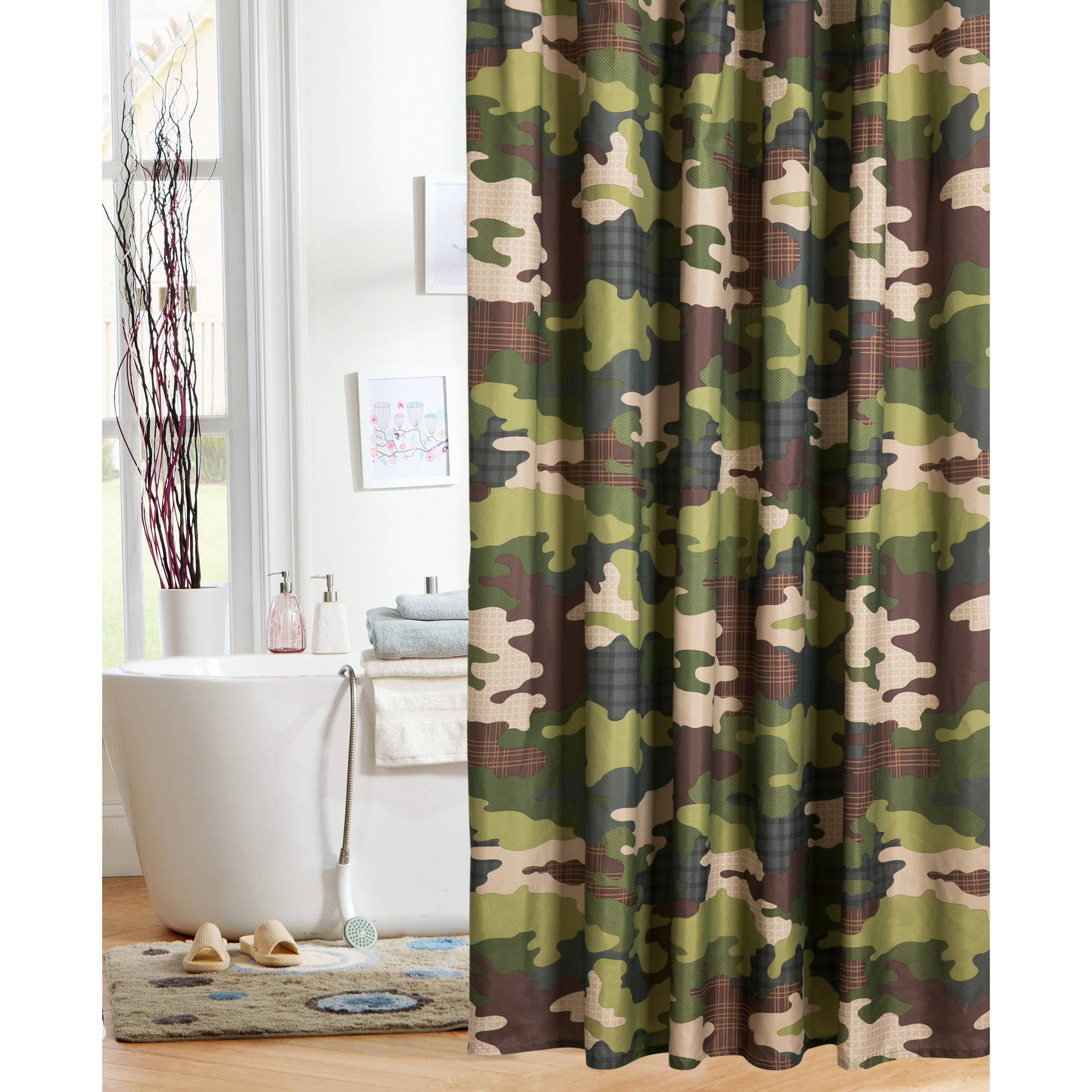 Mainstays Kids Camo Shower Curtain - Walmart.com