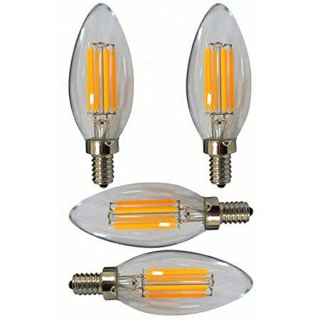 SleekLighting 6 Watt E12 LED Filament Candelabra Light Bulb,dimmable (60W Incandescent Replacement) Daylight White 5000K Decorative Chandelier , Cover E12 Base 4pack (Torpedo (Decorative Torpedo)