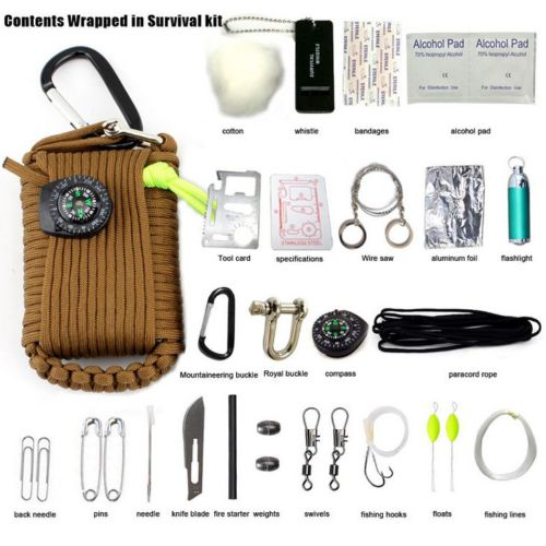 29 in1 Professional Survival Kit Outdoor Travel Hike Field Camp Emergency Kits by