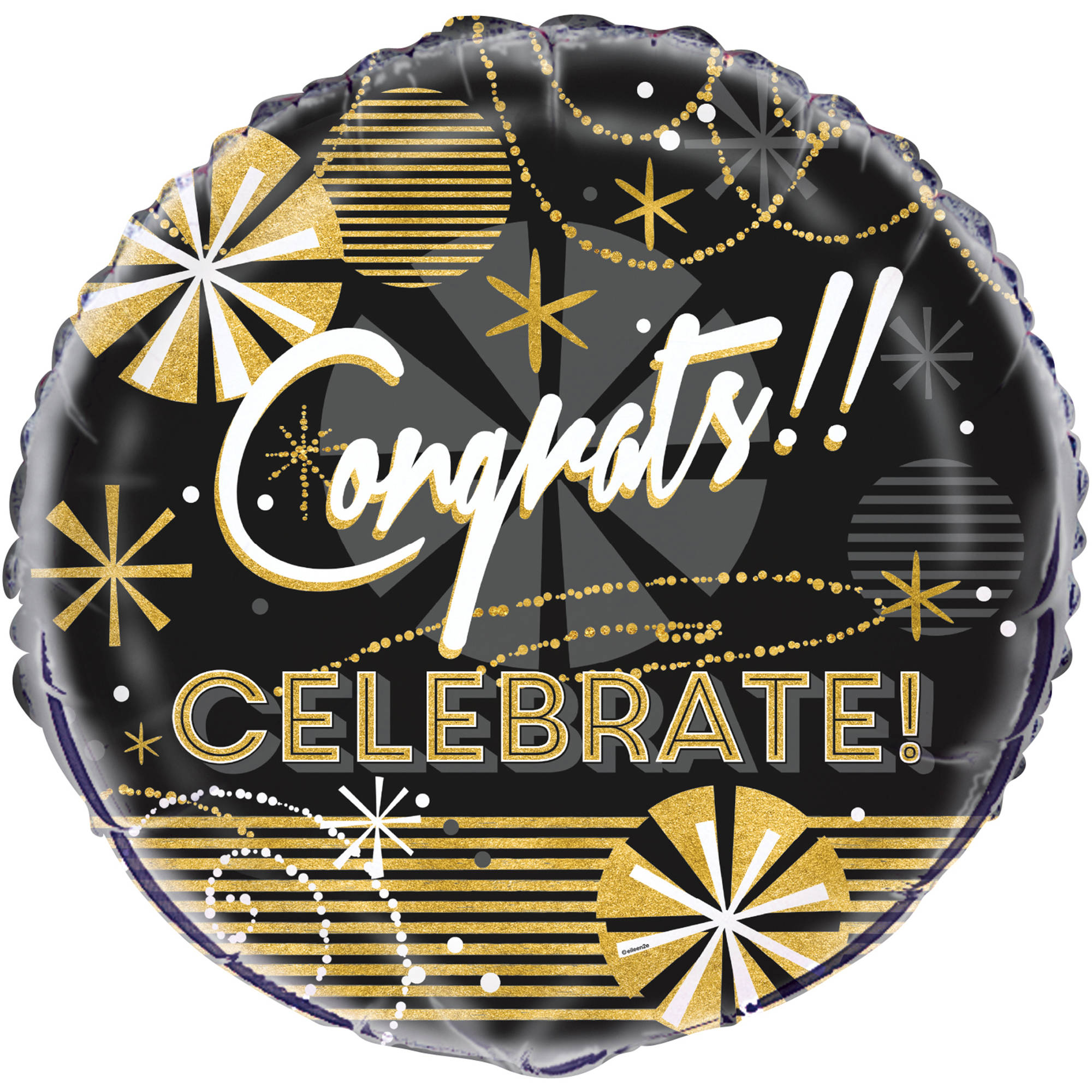"18"" Foil Jazzy Black and Gold Congratulations Balloon"