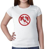 Anti-Clowns Red Sign - Do Not Like Hate Clowns Girl's Cotton Youth T-Shirt