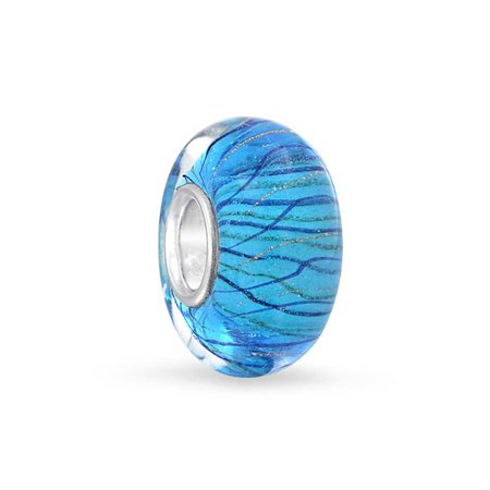 Blue Stripped Waves Murano glass Lampwork Bead Charm .925 Sterling Silver