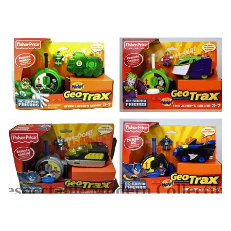 Geotrax Lights - Fisher Price Super Friends Geotrax [Batmobile Batman Joker Green Lantern] (Deluxe Collector Set of 4) Geo-Tracks Remote Control Train Engine Superhero Vehicle Toy Dc Comics Collectible