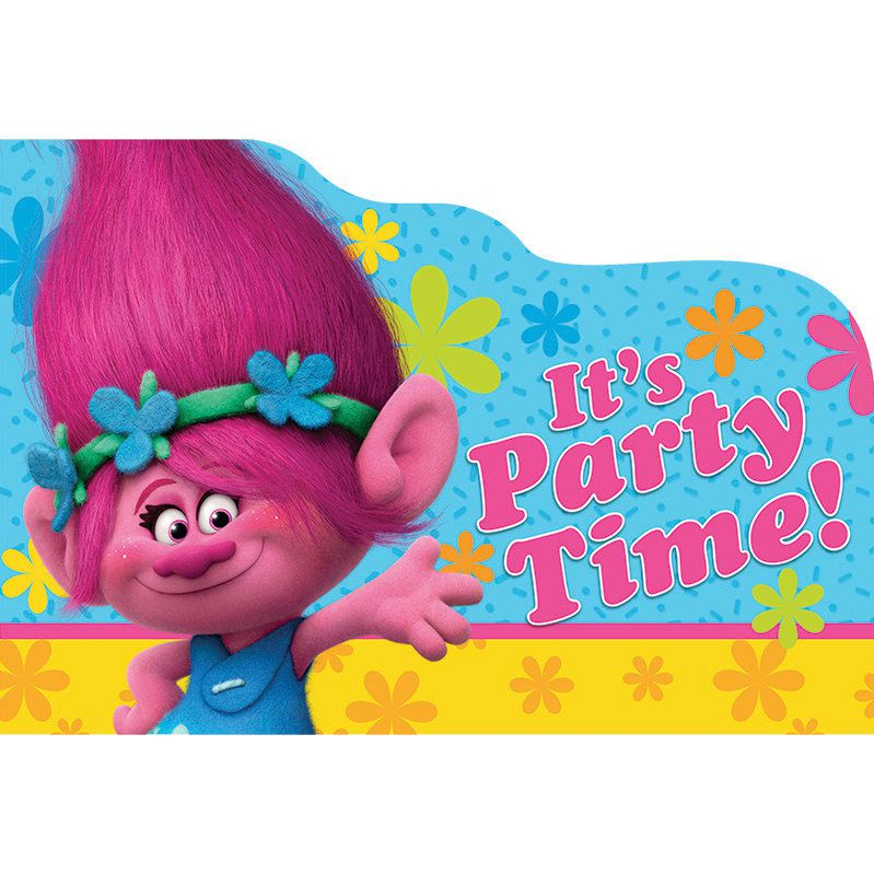 Dreamworks Trolls Poppy Birthday Girl Party Invitation 16 Count Save The Date Stickers