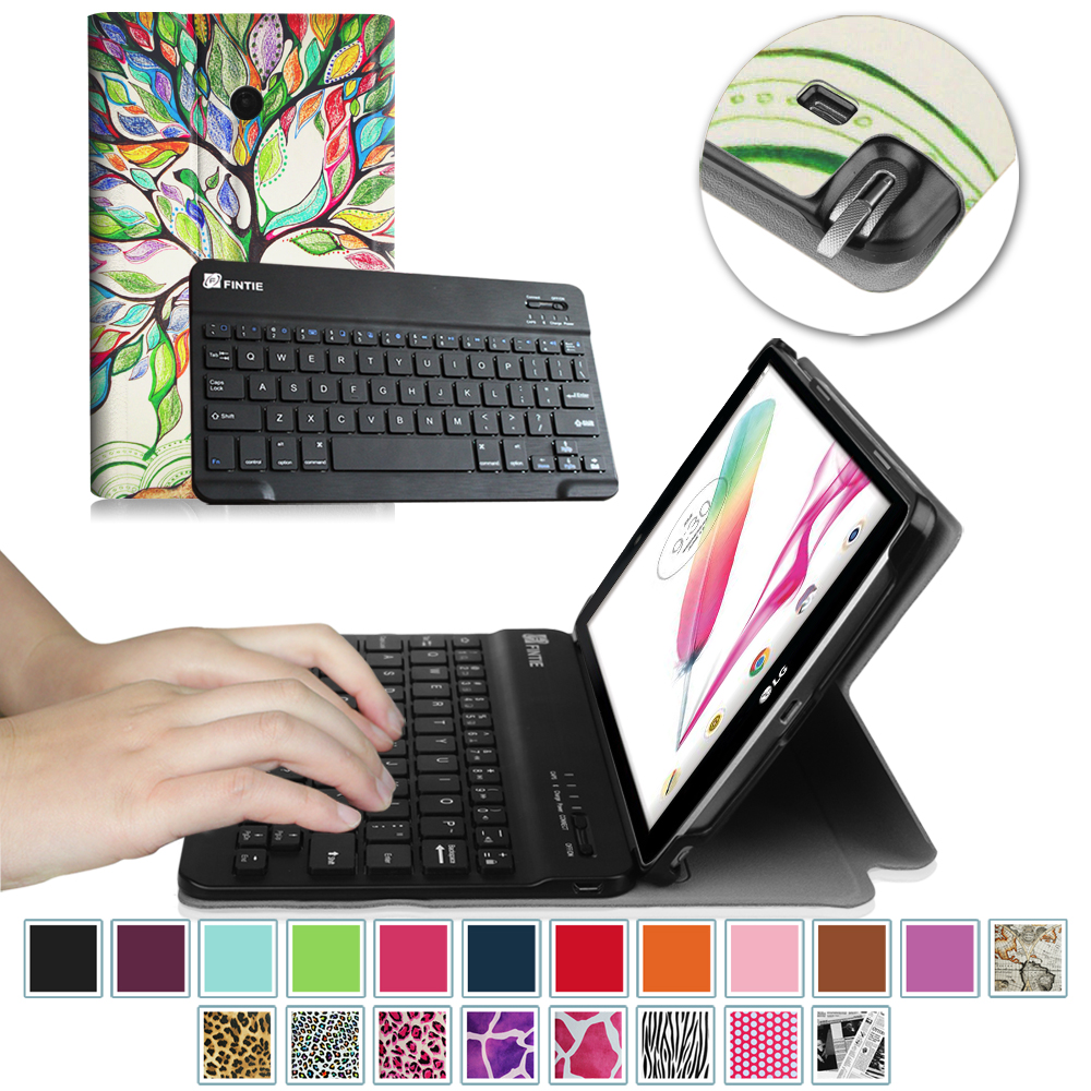 LG G Pad F 8.0 V495 / V496 / UK495 Keyboard Case - Fintie Smart Shell Cover with Wireless Bluetooth Keyboard, Love Tree