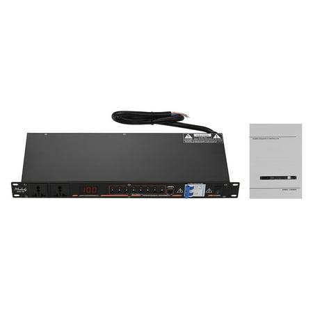 Contrôleur de séquence de puissance Muslady DB2-02 10 prises pour montage en rack Régulateur de protection contre les surtensions Régulateur d'alimentation avec affichage à LED Interface USB pour - image 6 of 7