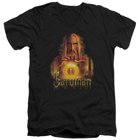 The Lord Of The Rings Movie Saruman Sauron Palantir Adult V Neck T Shirt Tee