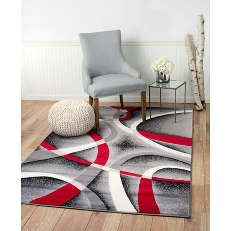 034 2x3 Ter Mat Abstract Gray Red White Area Rug Summit Collection And Decor Inc