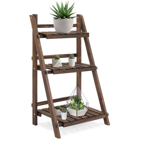 Best Choice Products 3-Tier Indoor Outdoor Multipurpose Folding Wood Plant Storage Display Rack Stand for Flowers, Succulents, Books,
