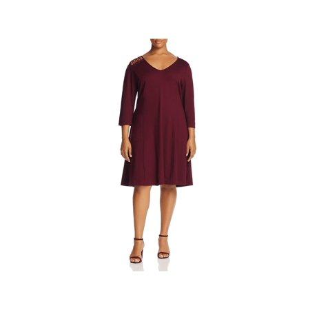 Love Scarlett Womens Plus Lace-Up Knee-Length Party Dress - Scarlett Ohara Dresses