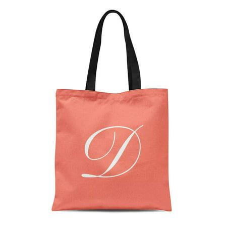 ASHLEIGH Canvas Tote Bag Danielle Letter D Coral Destiny Diana Desiree Dominique Daisy Reusable Handbag Shoulder Grocery Shopping Bags