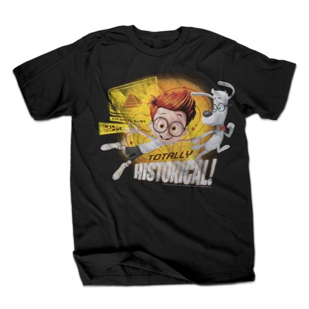 Mr. Peabody and Sherman Totally Historical Mens Black T-Shirt | L - Historical Clothing