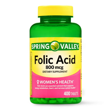 (2 Pack) Spring Valley Folic Acid Tablets, 800 mcg, 400 Ct - Folic Acid B-50 250 Capsules