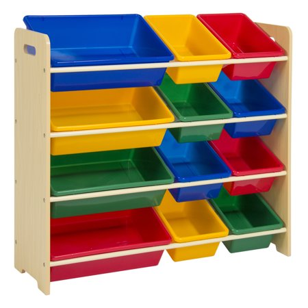 Best Choice Products 4-Tier Kids Wood Toy Storage Organizer 12 Easy-To-Clean Removable Plastic Bins - Multi
