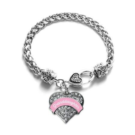 (Pink Granddaughter Pave Heart Bracelet)