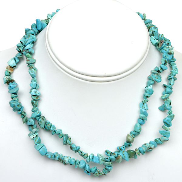 32 Inch Simulated Turquoise Chip Necklace 293.00 Carat