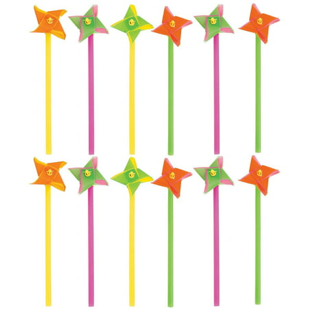 Mini Pinwheels - Pack Of 12 Assorted Neon Two Tone Colors
