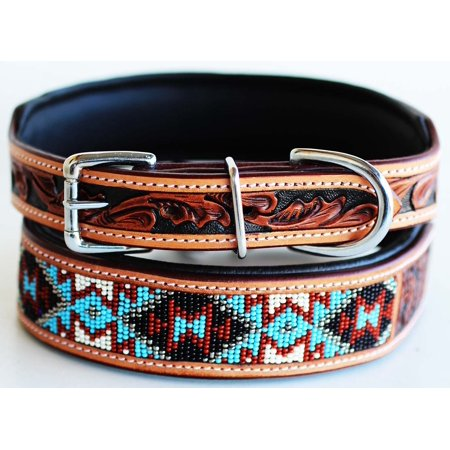 Amish Made 100% Cow Leather Hand Tooled Puppy Dog Collar Adjustable Padded