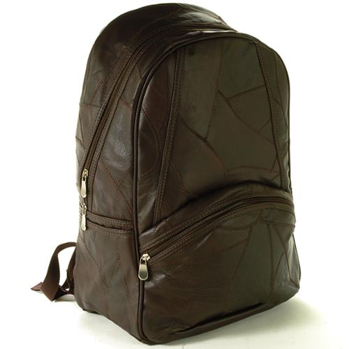 "Laptop Backpack Patchwork Leather 15"" Computer Case Travel Organizer Book Bag Brown One Size"