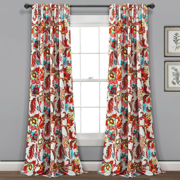 Lush Decor Zara Jacobean Room Darkening 84 X 52 Floral Gray 100 Polyester 3 Back Tab Rod Pocket Pair Window Panel Walmart Com Walmart Com