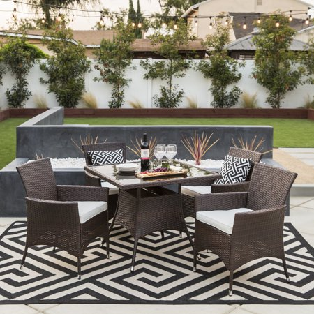 - Best Choice Product 5-Piece Indoor Outdoor Wicker Patio Dining Set Furniture w/ Square Glass Top Table, Umbrella Cut Out, 4 Chairs - Brown