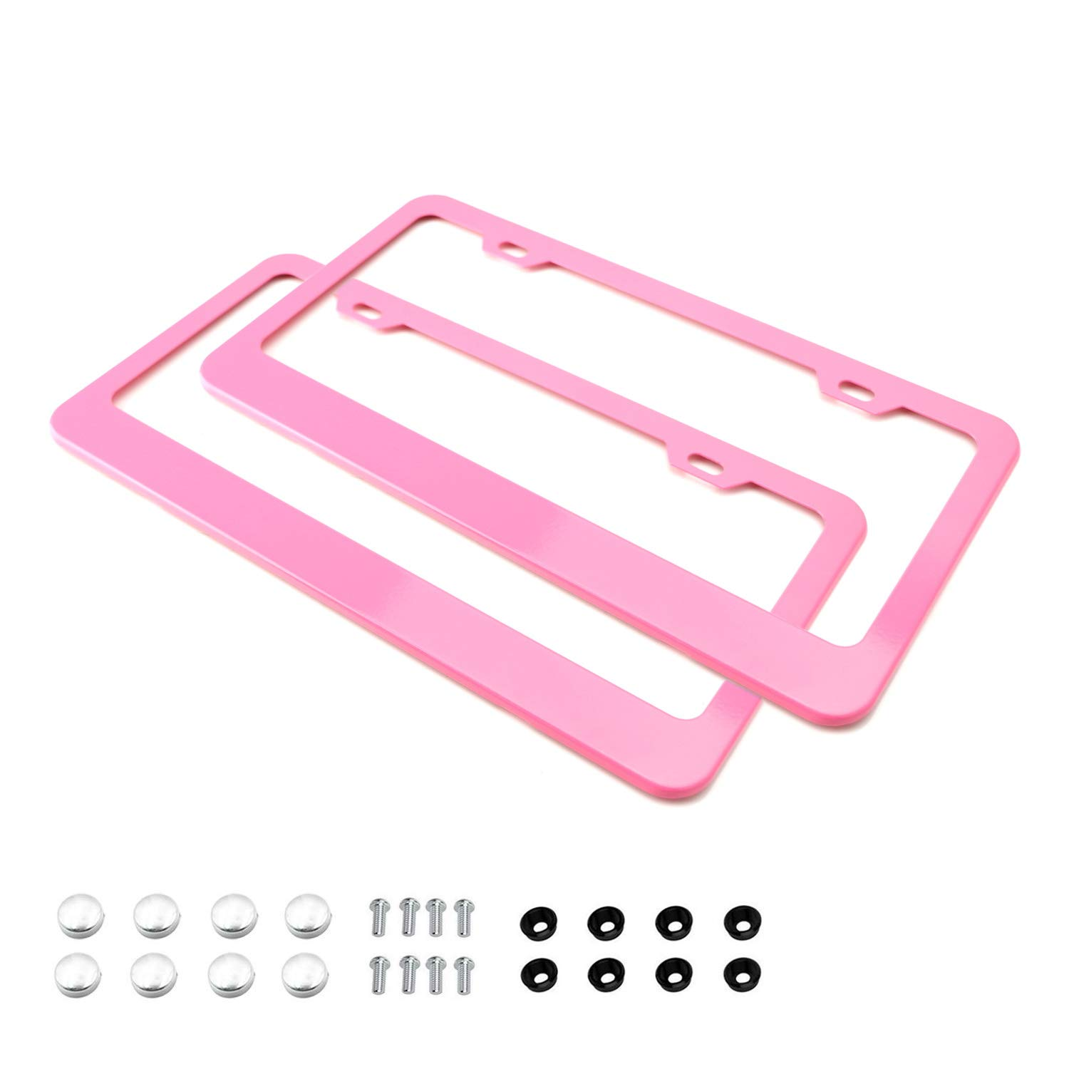 AIR FORCE MOM METAL SOFT PINK License Plate Frame Tag Border PINK LETTERING