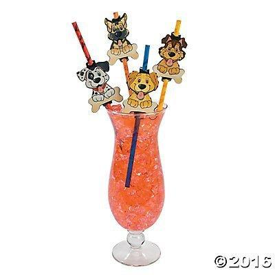 Puppy Dog Paper Party Straws - 24 ct