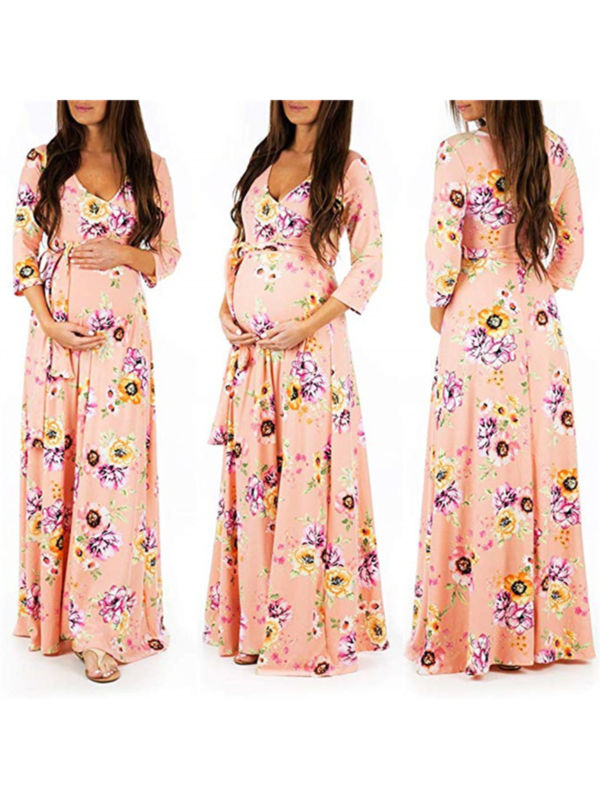 Pregnant Wrap V Neck Maxi Dress Womens Floral 3/4 Sleeve Party Maternity Dresses