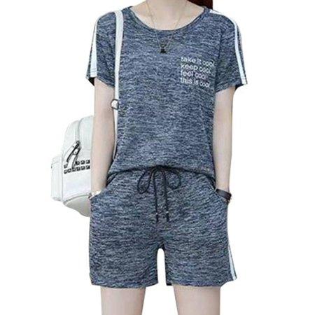 2Pcs Women Summer Loose Short Sleeve T-Shirt+Casual Shorts Loungewear Suit ()