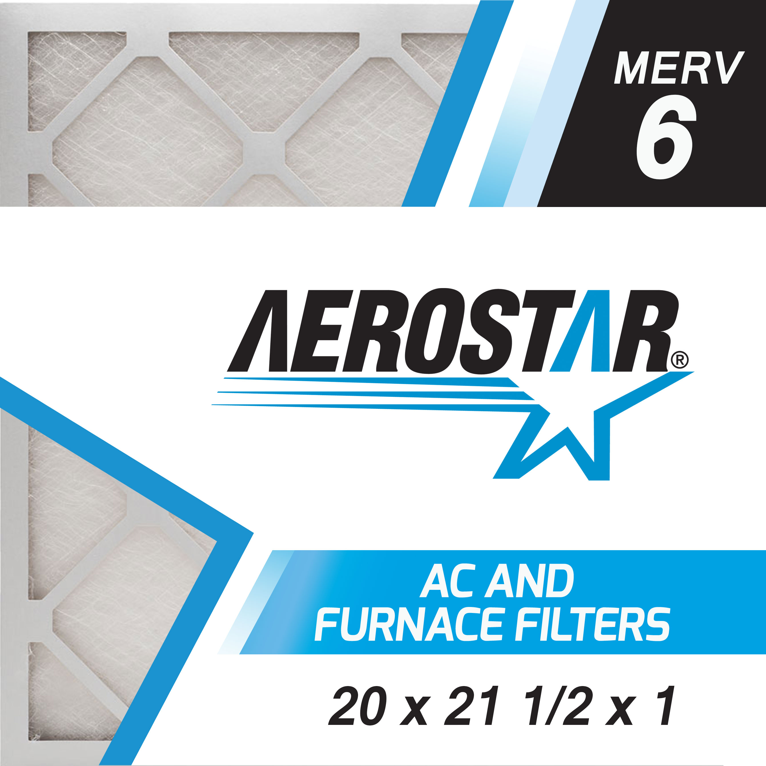 20 x 21 1/2 x 1 AC and Furnace Air Filter by Aerostar - MERV 6, Box of 6