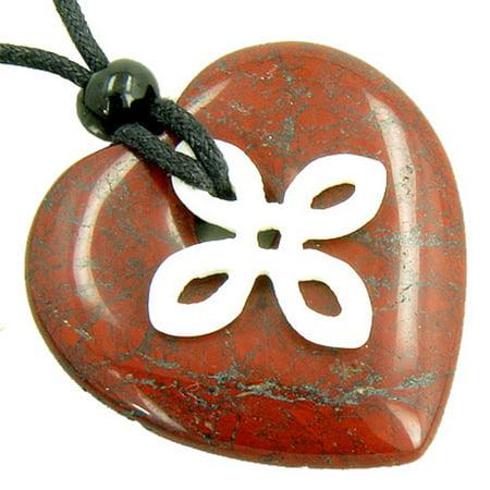 Red Jasper Heart Necklace - Celtic Bone Cross and Good Luck Amulet Red Jasper Heart Pendant Necklace