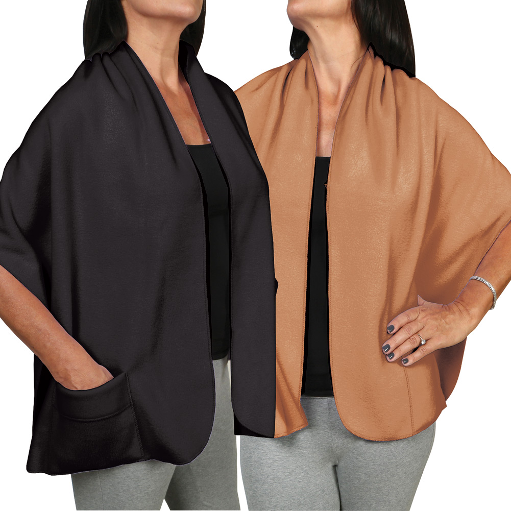 Women's Fleece Pocket Shawl Set Of Two - Camel And Black
