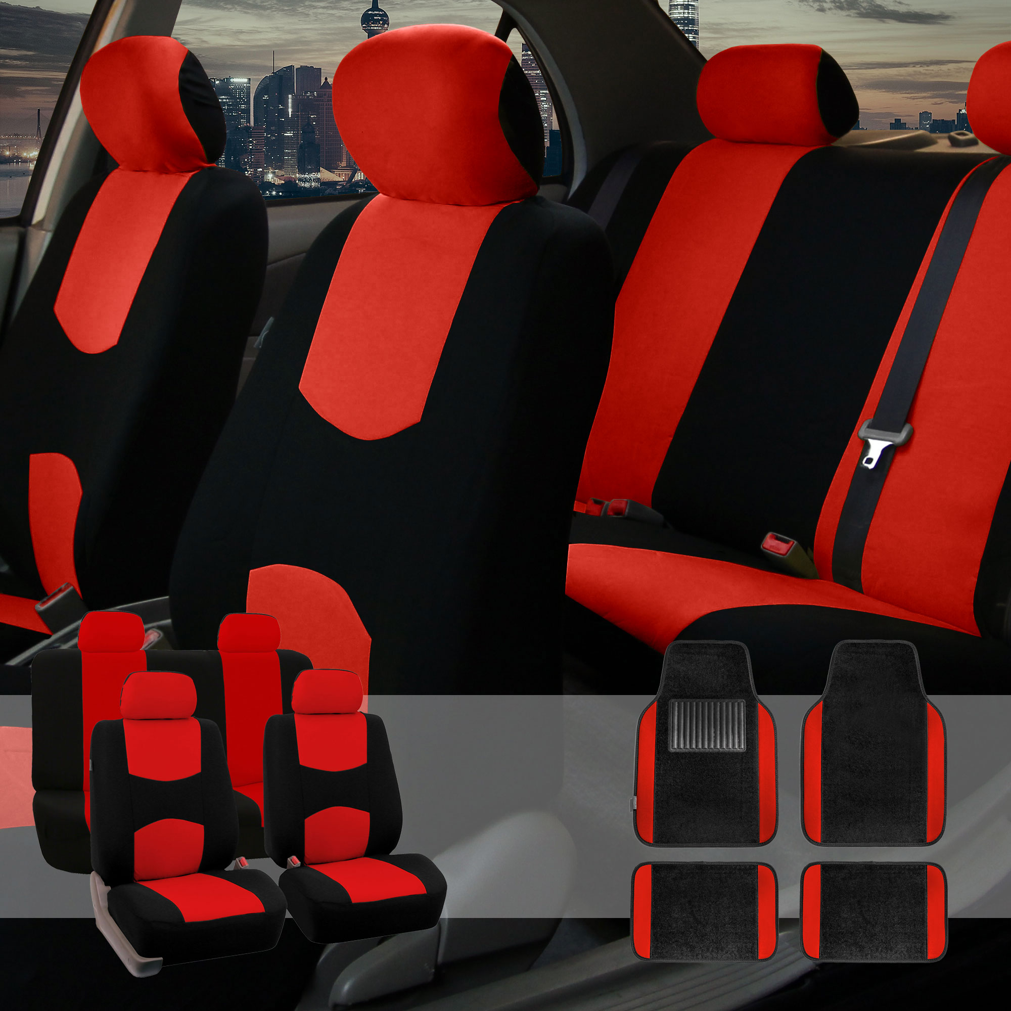 Car Seat Covers Set For Auto 4 Headrests Black Red With Carpet