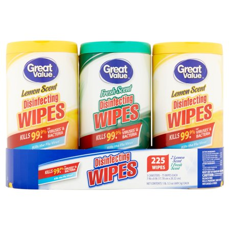 Great Value Disinfecting Wipes, Fresh & Lemon Scent, 225