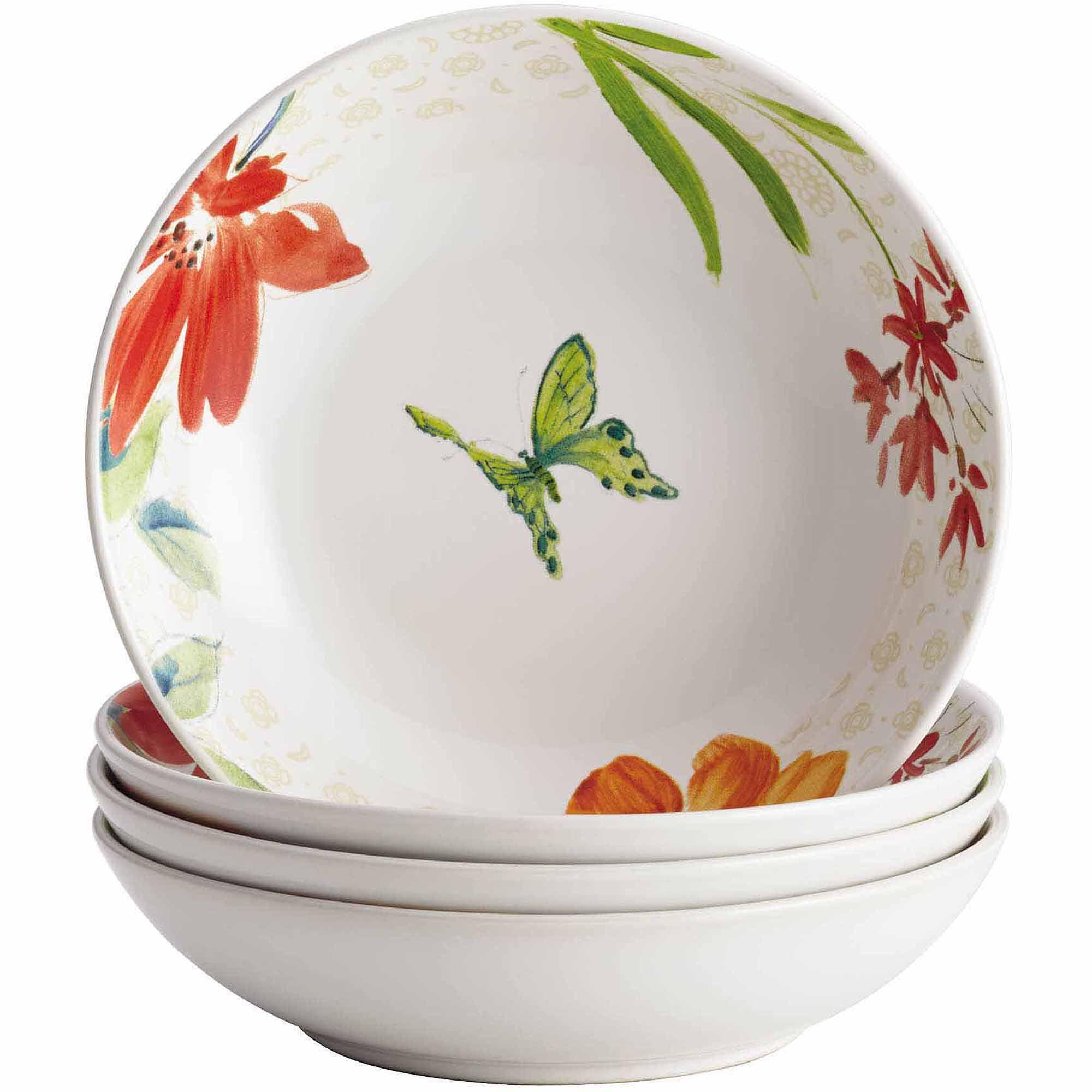 BonJour Dinnerware Al Fresco Porcelain Stoneware 4-Piece Fruit Bowl Set
