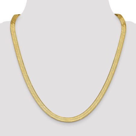 14K Yellow Gold 6.5mm Silky Herringbone Chain - image 3 of 5