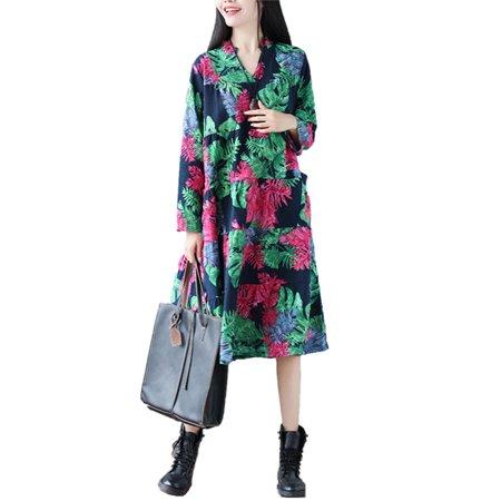 SAYFUT Juniors Plus Size Vintage Floral Print Dresses Casual V-Neck Baggy  Long Sleeve Dress