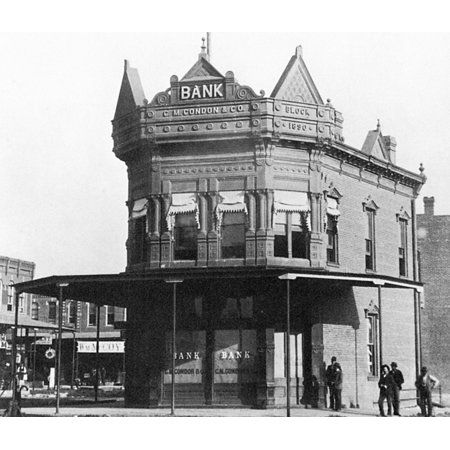 Condon   Company Bank Nphotograph Of The Condon   Co Bank In Coffeyville Kansas Prior To The Unsuccessful Robbery Attempt By The Dalton Brothers On 5 October 1892 Rolled Canvas Art     18 X 24