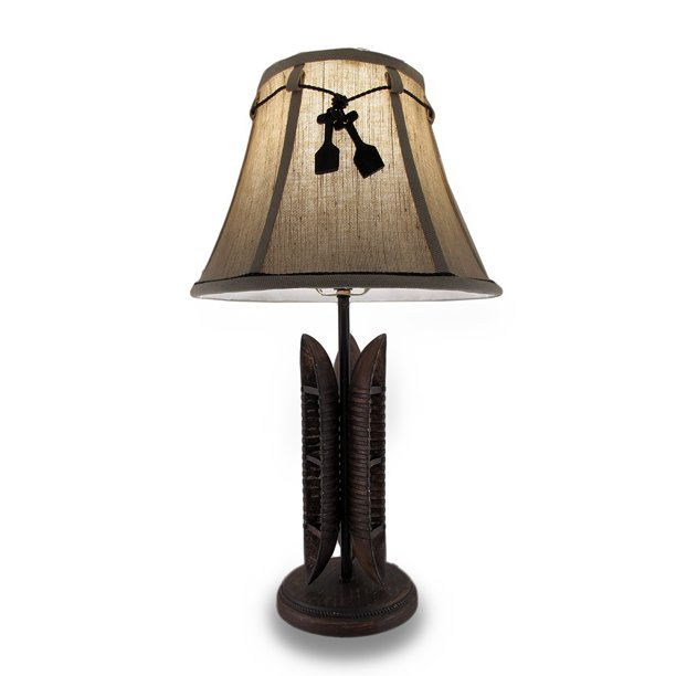 21 Inch Tall Triple Canoe Table Lamp W/ 12 Inch Diameter Shade