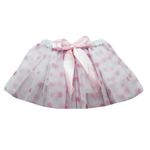 Dress Up Dreams Boutique Baby Girls White Pink Polka Dots Satin Elastic Waist Ballet Tutu Skirt 0 - 12M