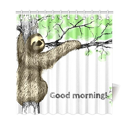 GCKG Funny Animal Shower Curtain Sloth On The Tree Polyester Fabric Bathroom Sets 66x72 Inches