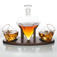 Atterstone Diamond Decanter Set   Full Set with Custom Mahogany Decanter Stand, 2 Diamond Whiskey Glasses, Whiskey... by Atterstone
