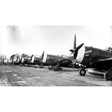 (LAMINATED POSTER P-47D Thunderbolts of the 359th Fighter Group at East Wretham Airfield, England. Foreground is Ser Poster Print 24 x 36)