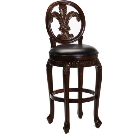 Fleur De Lis Triple Leaf Bar Stool with Leather Seat, Distressed Cherry Finish with Cooper Highlights