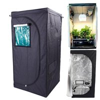 """Ktaxon 32""""x32""""x64"""" Reflective 600D Mylar Hydroponic Grow Tent for Indoor Plant Growing with Removable Floor Tray"""