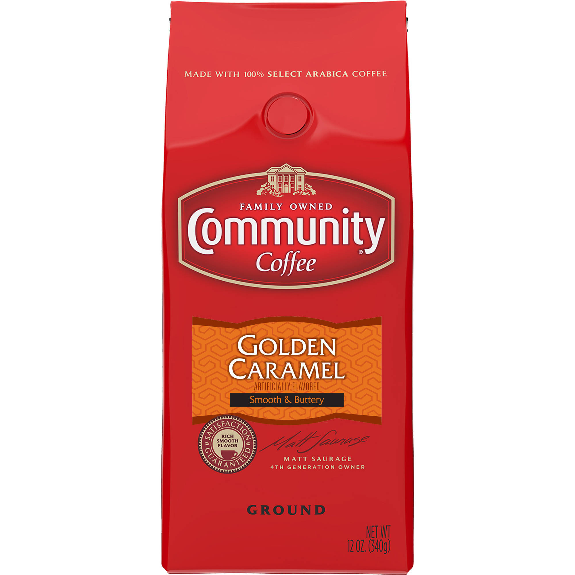 Community Coffee Golden Caramel Flavored Ground Coffee, 12 oz